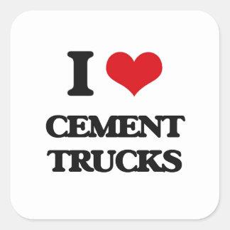 Eu amo caminhões do cimento adesivo quadrado