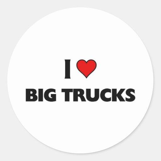Eu amo caminhões grandes adesivo em formato redondo