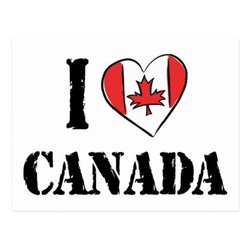 Eu amo Canadá Cartão Postal