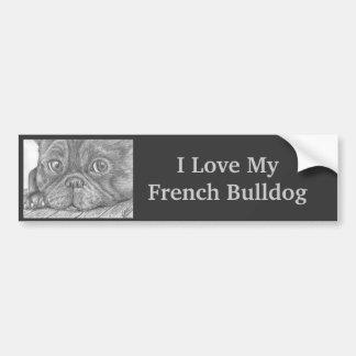 """""""Eu amo cão Bumpersticker do meu buldogue francês"""" Adesivo Para Carro"""