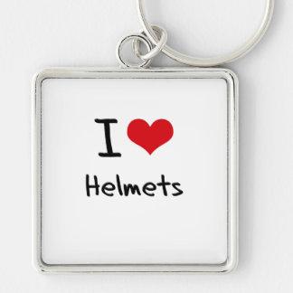 Eu amo capacetes chaveiros