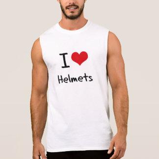 Eu amo capacetes camisetas sem manga