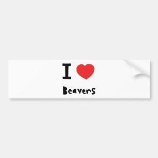 Eu amo castores adesivos