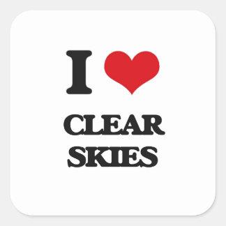 Eu amo céus claros adesivo quadrado