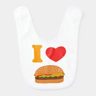 Eu amo cheeseburgers babador de bebe