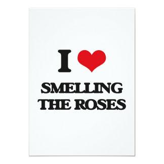 Eu amo cheirar os rosas convite 12.7 x 17.78cm