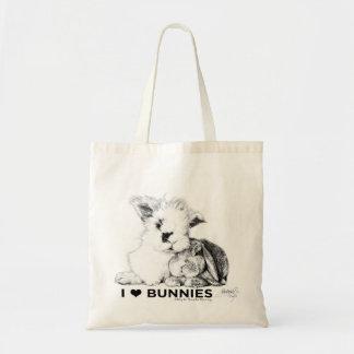 Eu amo coelhos bolsa tote