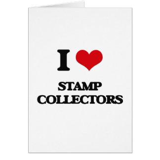 Eu amo coletores de selo cartão comemorativo