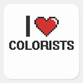Eu amo Colorists Adesivo Quadrado