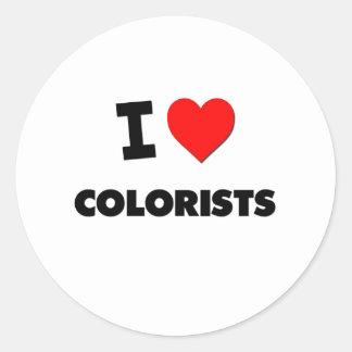 Eu amo Colorists Adesivos Em Formato Redondos