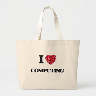 Eu amo computar sacola tote jumbo