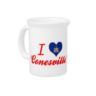 Eu amo Conesville, New York Jarro Para Bebida