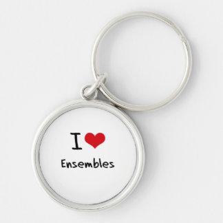 Eu amo conjuntos chaveiros