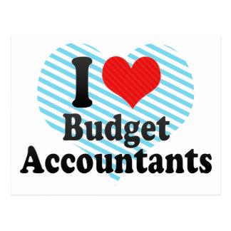 Eu amo contadores do orçamento cartao postal