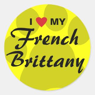 Eu amo (coração) meu Brittany francês Pawprint Adesivo Em Formato Redondo