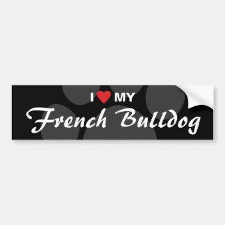 Eu amo (coração) meu buldogue francês adesivo para carro