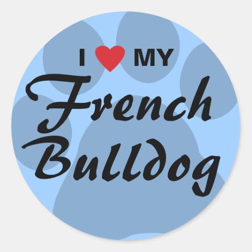 Eu amo (coração) meu buldogue francês Pawprint Adesivos Em Formato Redondos