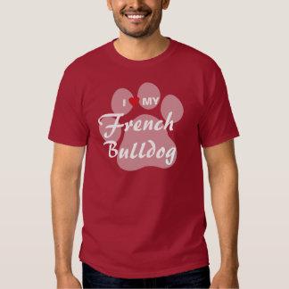 Eu amo (coração) meu buldogue francês Pawprint T-shirt