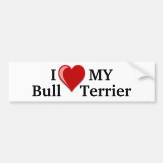Eu amo (coração) meu cão de bull terrier adesivo para carro
