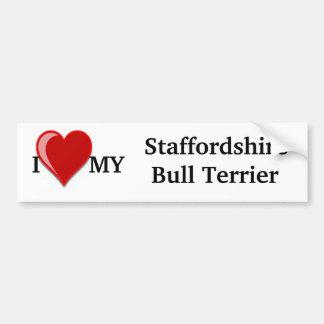 Eu amo (coração) meu cão de Staffordshire Bull Adesivo Para Carro