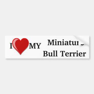 Eu amo (coração) meu cão diminuto de bull terrier adesivo para carro