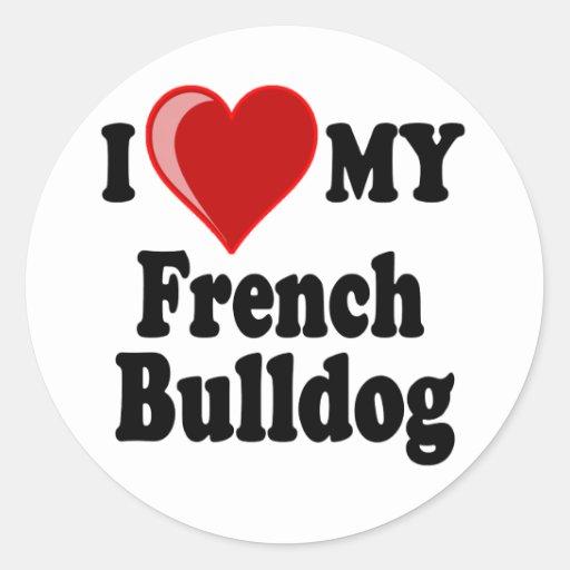 Eu amo (coração) meu cão do buldogue francês adesivos em formato redondos
