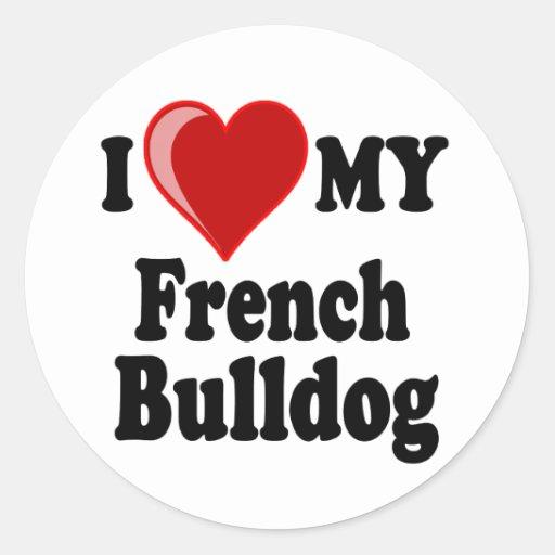 Eu amo (coração) meu cão do buldogue francês adesivo redondo
