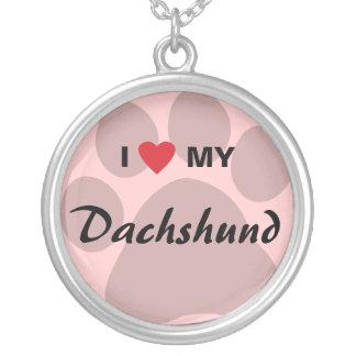 Eu amo (coração) meu Dachshund Pawprint Colar Com Pendente Redondo