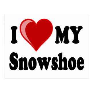 Eu amo (coração) meu gato do sapato de neve cartão postal