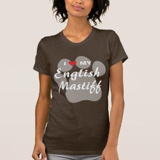 Eu amo (coração) meu Mastiff inglês Pawprint Camiseta