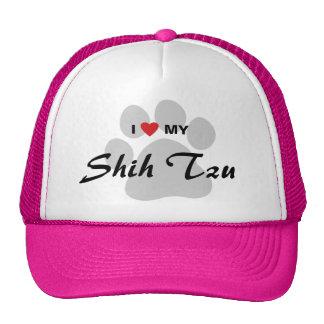 Eu amo (coração) meu Shih Tzu Pawprint Boné