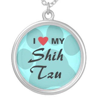 Eu amo (coração) meu Shih Tzu Pawprint Colar Com Pendente Redondo