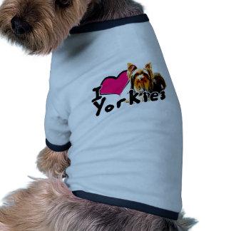 Eu amo (coração) Yorkies Camisas Para Caes