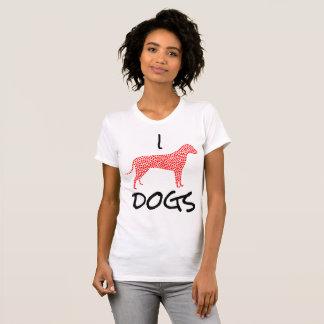 Eu amo corações dos cães na forma da camisa bonito