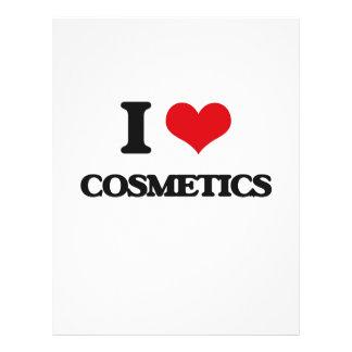 Eu amo cosméticos modelo de panfletos