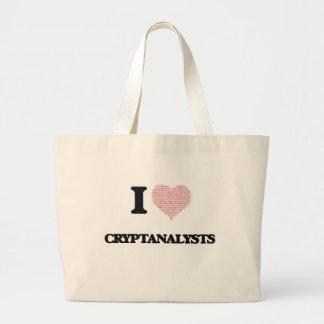 Eu amo Cryptanalysts (o coração feito das Sacola Tote Jumbo