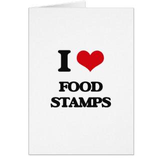 eu AMO cupões de alimentação Cartão Comemorativo