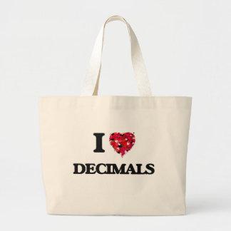 Eu amo decimais sacola tote jumbo