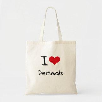 Eu amo decimais bolsas de lona