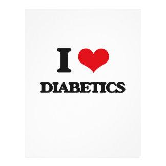 Eu amo diabéticos panfletos coloridos