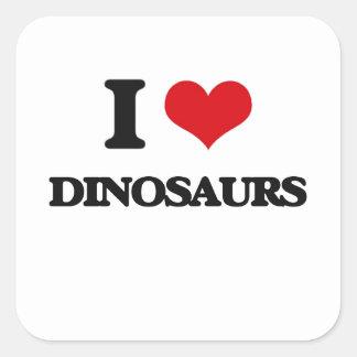 Eu amo dinossauros adesivo quadrado