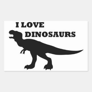 Eu amo dinossauros! adesivos em formato retangulares