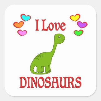 Eu amo dinossauros adesivo em forma quadrada