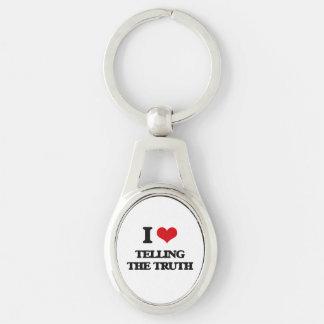 Eu amo dizer a verdade chaveiro oval cor prata