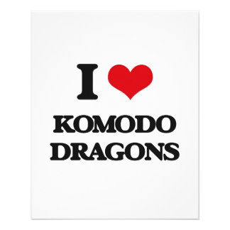 Eu amo dragões de Komodo Panfleto Coloridos