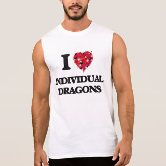 Eu amo dragões individuais camisas sem manga