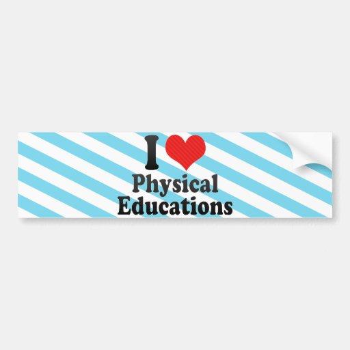 Eu amo educações físicas adesivos