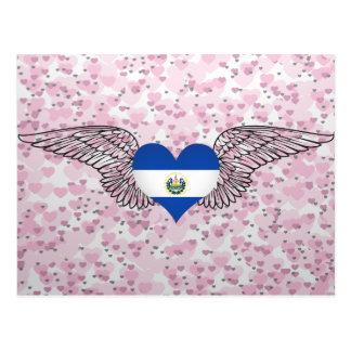 Eu amo El Salvador - asas Cartão Postal