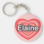 Eu amo Elaine. Eu te amo Elaine. Coração Chaveiro