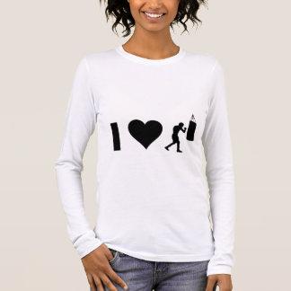 Eu amo encaixotar camiseta manga longa